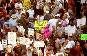 Protests erupted in California - and across the country - following the passage of Proposition 8 in California, now being challenged in federal court by two of the nation's most prominent lawyers, Ted Olson and David Boies.