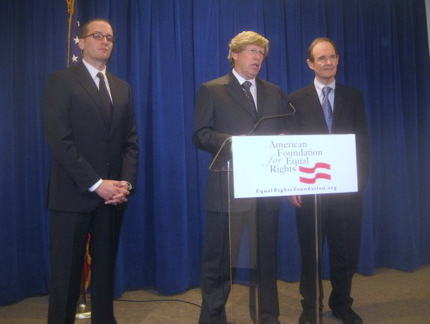AFER board president Chad Griffin (left) and lawyers Ted Olson (center) and David Boies.
