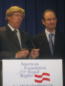 Olson and Boies speaking at the news conference after the hearing.