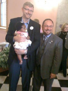 Former Equality Ohio Education Fund Board Chair Tom Grote with his daughter Amoret and EHEA sponsor Rep. Stewart.