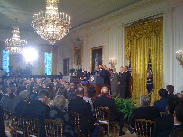The President announcing his signing of the National Defense Authorization Act -- which contains the Matthew Shepard and James Byrd, Jr. Hate Crimes Prevention Act -- in the East Room of the White House.