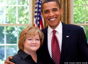 Judy Shepard, the mother of Matthew Shepard, with President Obama. (Image by Pete Sousa/White House.)