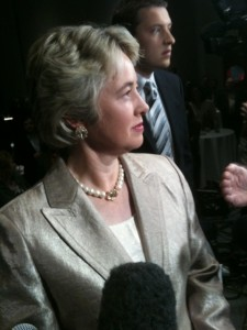 Annise Parker, entering her mayoral post-election party. (Photo by @miyashay via Twitter.)