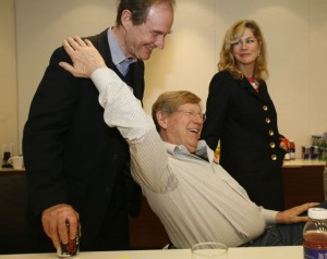 David Boies (left), Ted Olson and Lady Booth Olson, prior to the start of the Proposition 8 trial. (Photo by Diana Walker c/o AFER.)