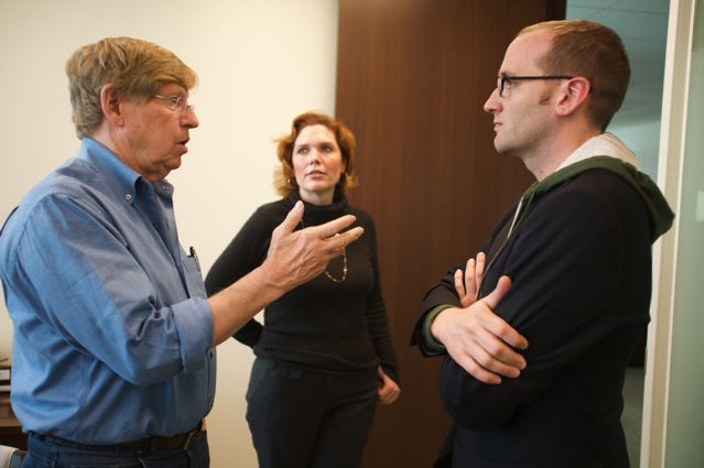 Ted Olson (left), Kristina Schake and Chad Griffin talk prior to the start of the trial Olson is leading challenging the constitutionality of Proposition 8.  (Photo by Diana Walker via AFER.)