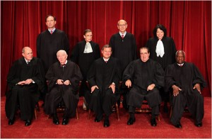 The Supreme Court divided, 5-4, in ruling against U.S. District Judge Walker's plan to broadcast the Proposition 8 trial to several other courtrooms across the country.