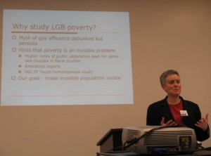 Lee Badgett speaks at a hearing &quot;Not a Rosy Picture: Poverty Among Lesbian, Gay and Bisexual Americans,&quot; which took place on March 20, 2009. (Iamage from Web site of Rep. Tammy Baldwin.)