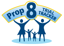 The Courage Campaign's &quot;Prop 8 Trial Tracker&quot; logo.