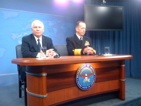 Secretary of Defense Robert Gates and Chairman of the Joint Chiefs Adm. Mike Mullen speak to reporters this morning at the Pentagon.