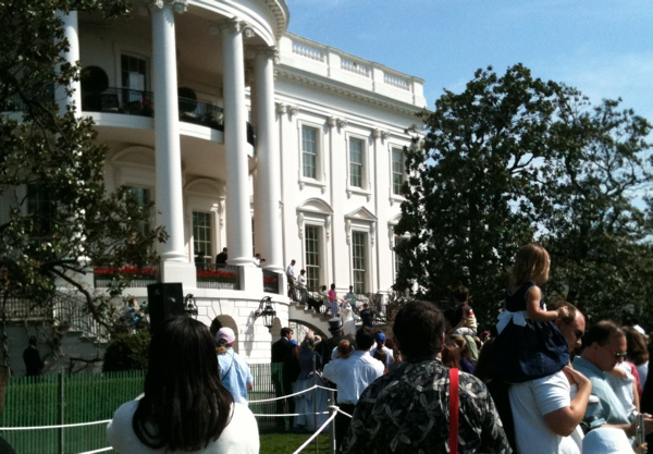 The First Family, along with the Easter Bunny, descend the steps of the White House to joing the Egg Roll taking place on the South Lawn on Monday.
