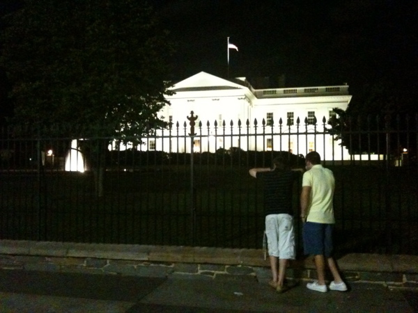 About 9:30 p.m. Monday night, outside the White House on Pennsylvania Avenue.